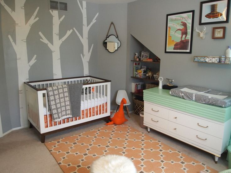 baby ms mint and orange nursery