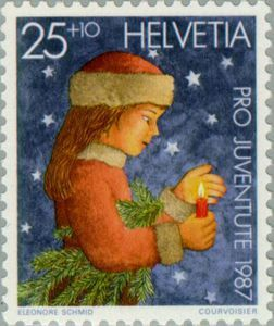 In Switzerland at Christmas, Leena the Postationist elf, has watched candles…
