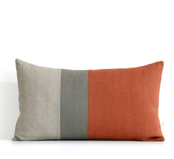 """If you decide to go with a more """"natural"""" aesthetic, then 2 of these would look nice on the bed  Sienna Lumbar Pillow - 12x20 - Mod Autumn Colorblock Pillow Covers by JillianReneDecor, Modern Home Decor, Fall Decorative Pillows FW2015"""