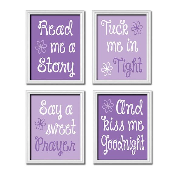Wall Art Nursery Artwork Girl Child Cute Purple by trmDesign, $37.00