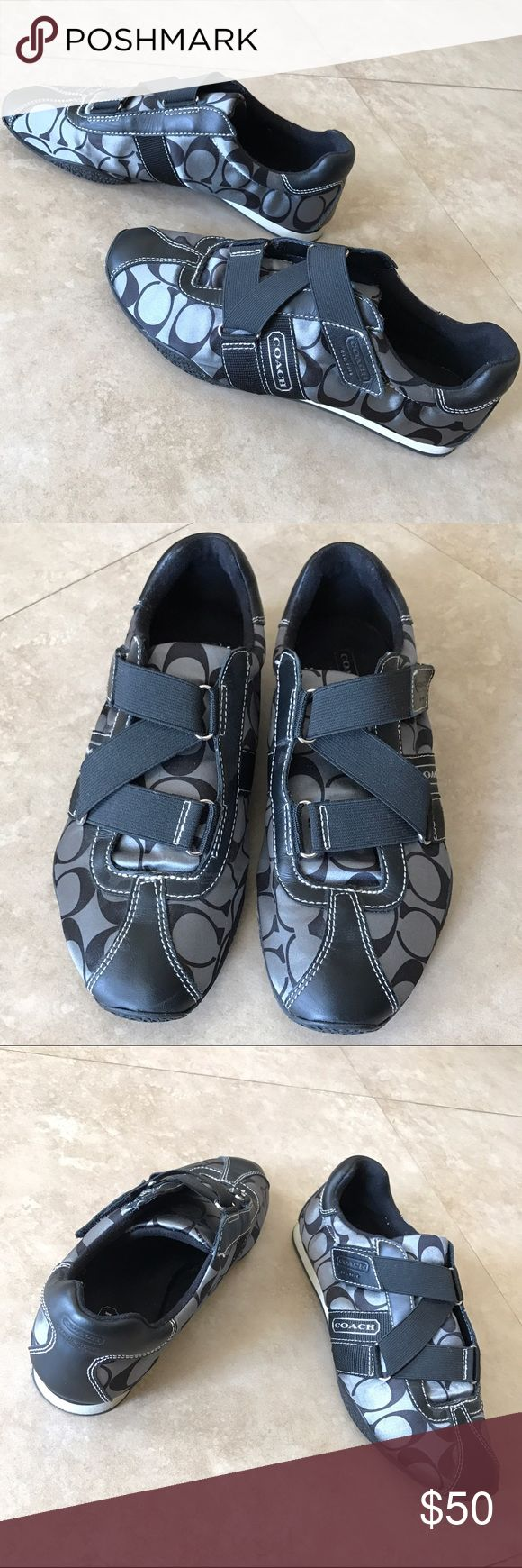 Coach shoes black & gray velcro strap no laces 8M Coach sneakers 👟 simple elegant and very comfy black and grayish, no laces!! Velcro straps. Like brand new!! Worn twice only. Size 8M. Wear them with skinny jeans or shorts and for a sporty tho elegant outfit, imagine how cute they will look with a dress 👗 Coach Shoes Sneakers