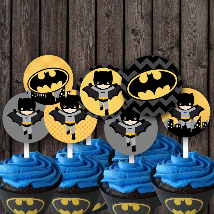 Batman cupcake toppers, batman party supplies, printable, instant download by AmysSimpleDesigns on Etsy https://www.etsy.com/listing/186317462/batman-cupcake-toppers-batman-party