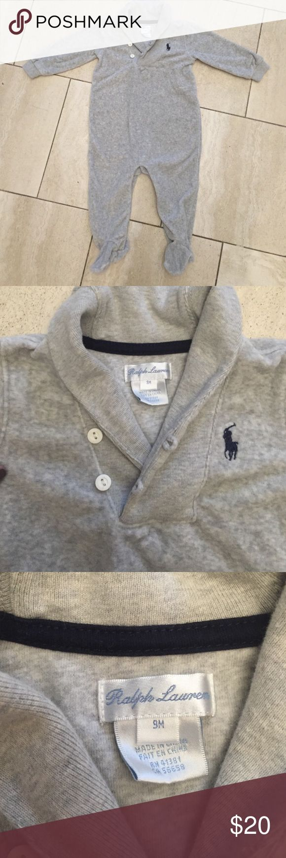 Ralph Lauren Outfit NWOT.  Super soft and cozy Ralph Lauren outfit.  Grey.  9 months. Ralph Lauren One Pieces