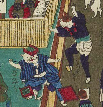 明治時代の「猫のそば屋」の浮世絵が味わい深い!客にそばをひっくり返して「これはそそう」「たいへんたいへん」 -