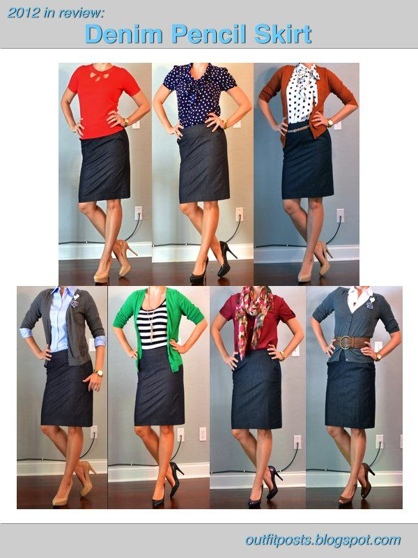 (Teacher Style) 7 ways to wear a denim pencil skirt: red short sleeve sweater top, royal blue/white polka dot short sleeve, blue and white dot under orange cardigan, lt blue button up under gray cardigan, blue/white nautical stripe under green cardigan, maroon short sleeve blouse with scarf, white collar shirt under med blue cardigan and wide brown leather belt.