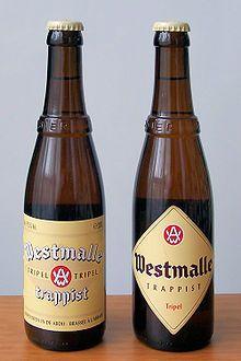 Westmalle Tripel   (Trappistenbier) De Tripel (cremé-kleurige kroonkurk) is het bekendste Westmalle-bier. Het heeft een diepe, maar zachte smaak met een bittere toets, en een heldere gouden kleur. Het gist drie weken na op de fles, en bezit zoals elke nagister na verloop van tijd een bezinksel van dode gistcellen op de flessenbodem. Het werd voor het eerst gebrouwen in 1934. Het heeft een alcoholpercentage van 9,5% en is verkrijgbaar in flessen van 33 en 75 cl.