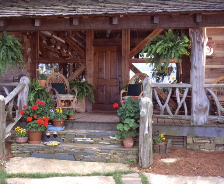 17 best images about porches patio 39 s decks on pinterest for Log cabin porches and decks