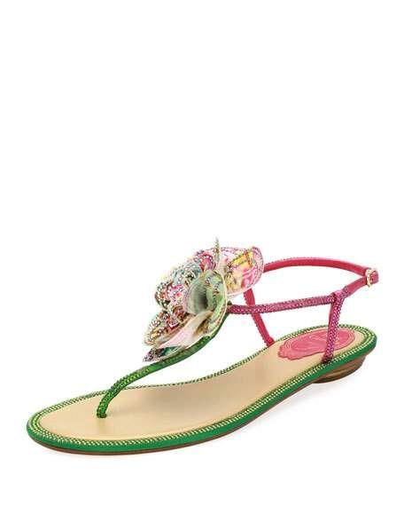 94f040f7d71 Embellished Leather Flat Sandal w  Flower