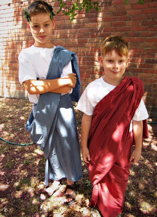 Try this easy DIY Toga Costume for a homeschool play, halloween costume or for cosplay. You just might have everything you need already!