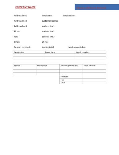 Travel service invoice