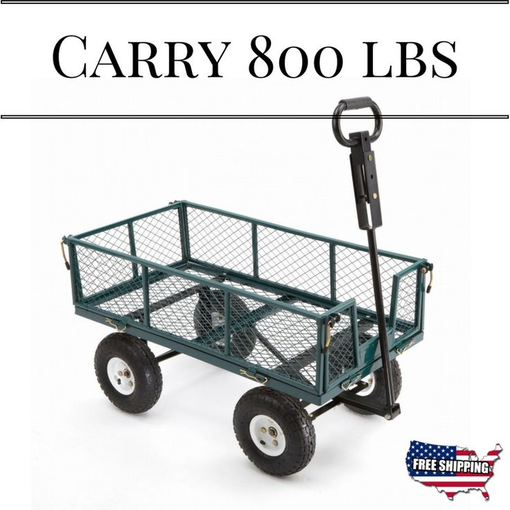 Cart Yard Garden Utility Wagon Dump Lawn Heavy Duty Wheelbarrow Trailer Steel #GardenUtilityWagon