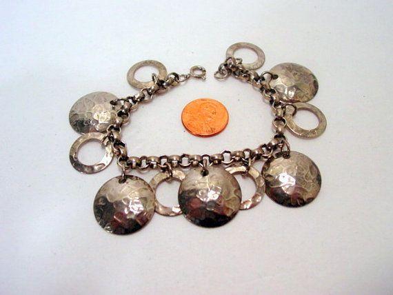 Vintage armband cirkels bedelarmband zilver door millpondjewelry