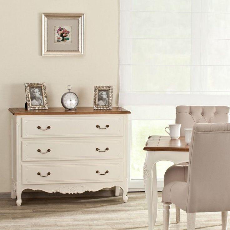 Komoda Dorothee 3 szuflady, white&natural 86x45x107cm #komoda #meble #furniture #design #modern #livingroom #ideas #inspiration