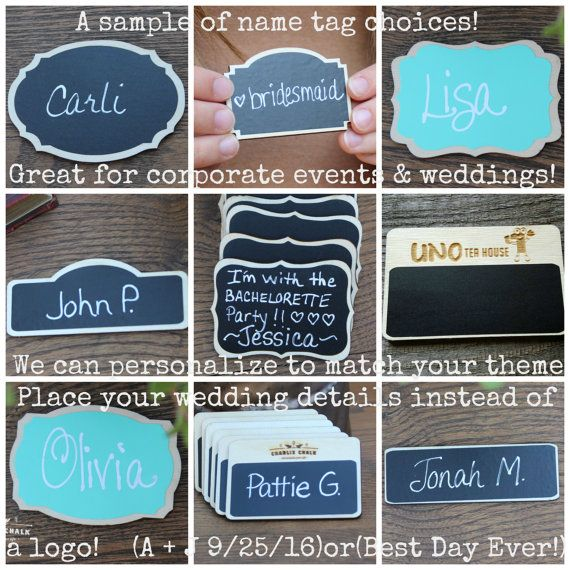 6 Chalkboard Name Tags Chalkboard Name by CharlieChalkDesigns