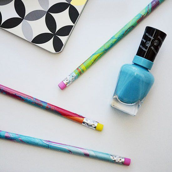 Discover the 4 things you need to know about nail polish marbling and get ready for back to school with easy DIY custom pencils.