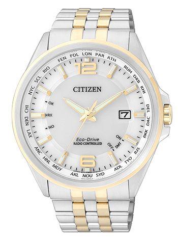 Montre Citizen Eco Drive Homme - CB0016-57A - Quartz - Analogique - Verre Saphir - Cadran et Bracelet en Acier Argent et Or - Date - Etanche 10 bar - Montre Japonaise