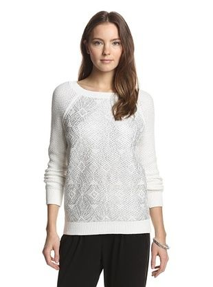 72% OFF Shae Women's Moss Stitch Raglan Pullover with Ikat Print (Silver)