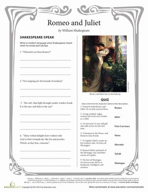 Familiarize your high schooler with Shakespeare's most romantic and heartbreaking play with this two-page comprehension sheet.