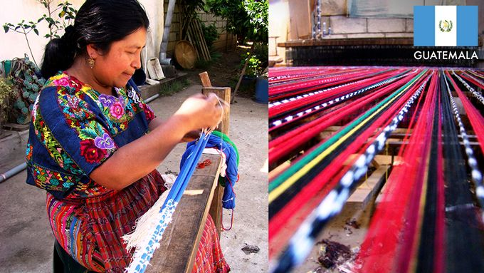 Guatemalan fabric is hand loomed by the Sic-Tzunun family in Quetzaltenango, Guatemala, where Mayan culture is still very much alive and well.