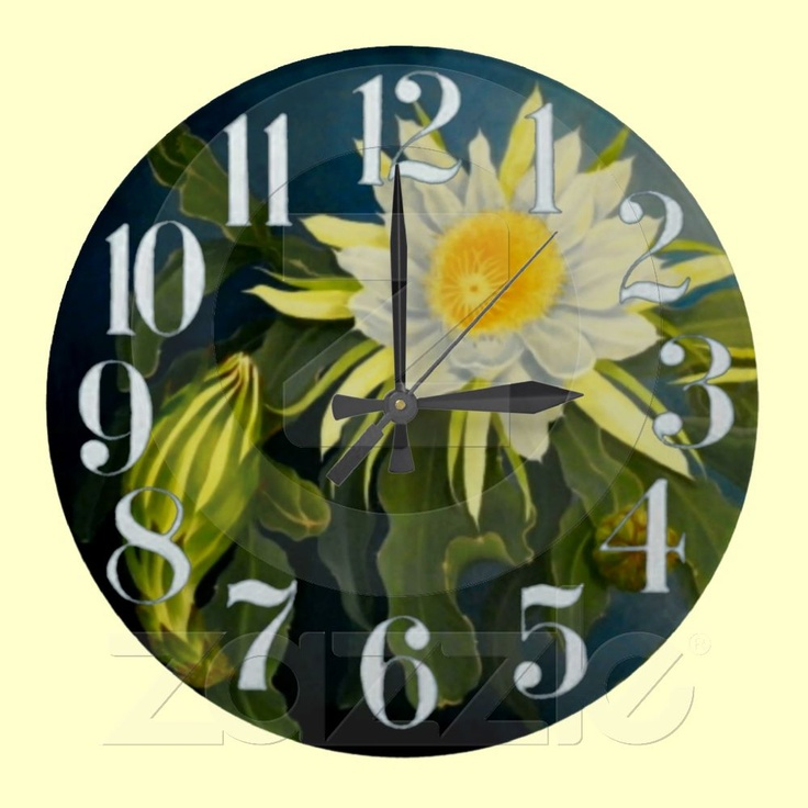 Cereus Time - original painting designer clock