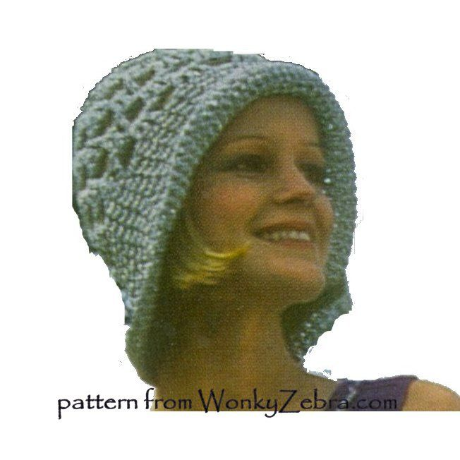 silver retro 70s cloche hat with dress crochet pattern WZ699...same hat as WZ