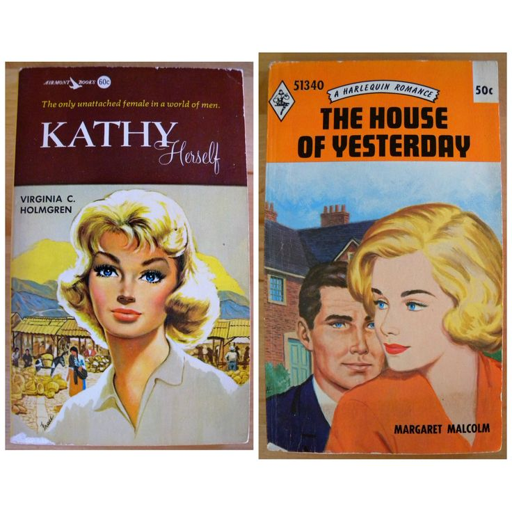 2 Vintage Romance Novels KATHY Herself by Virginia C. Holmgren, Airmont Books & The House of Yesterday by Margaret Malcolm Harlequin Romance by SkipsHiddenTreasures on Etsy