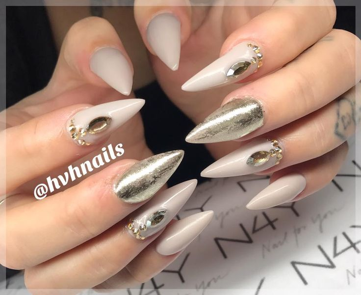 Gel Nails with rhinestones and nail pigment chrome nails. Gel Polish in Pale color Nude.