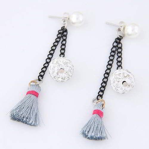 Tassel Round Ball Earrings Gray | Anting | habibstore3.com Grosir Fashion Termurah dan Terbesar di Indonesia