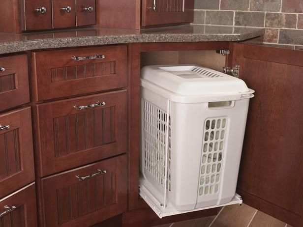 Bathroom cabinet with built in laundry hamper organization pinterest for Bathroom vanity with built in hamper