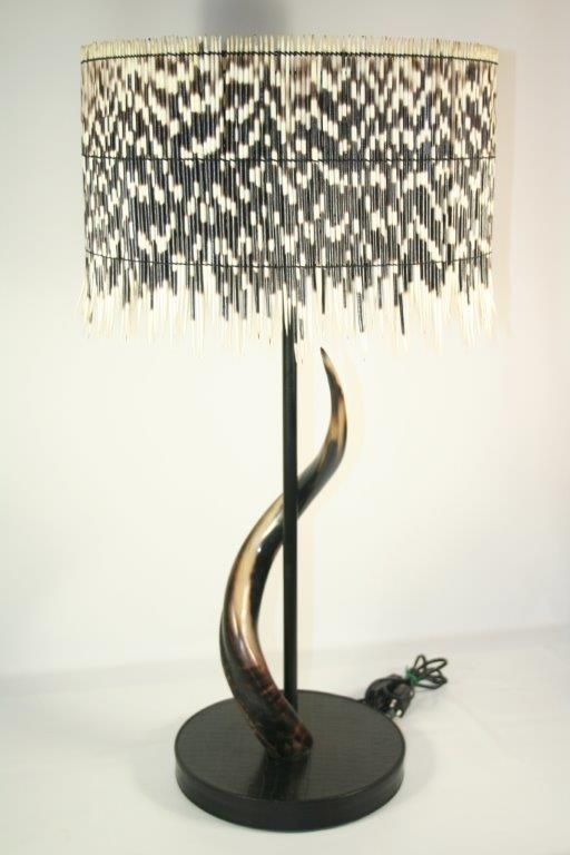 Porcupine Quill Lamp With Natural Kudu Horn And Leather