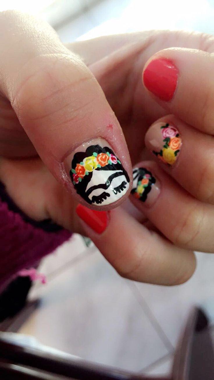 #nails #art #frida #kahlo #flowers #sweet