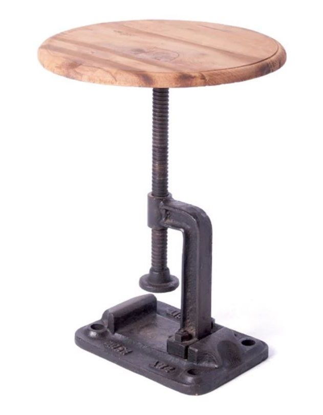 Iron Metal Adjustable Clamp Stool Kitchen High Chair Wood Industrial  Restoration