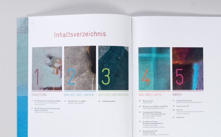 Grafikdesign Unternehmensbericht der GIZ – Inhaltsverzeichnis
