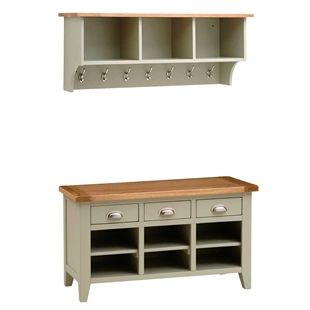 Hallway Storage Shoe And Benches Oak Solid Wood White The
