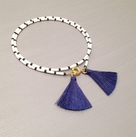 Delicate Tassel Bracelet ,Beaded Layering Bracelet This listing is for one beaded gold fill Bracelet. Bracelet is made of a Miyuki Delica beads,