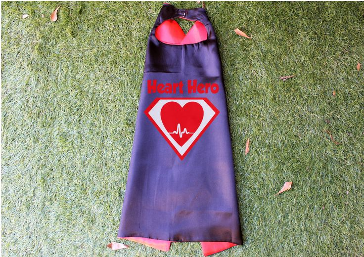 Heart Hero Cape, Superhero Cape, Heart Surgery Gift, Black Cape Red Liner, CHD, American Heart Association Month, Hospital Gift by TheCapeLady on Etsy