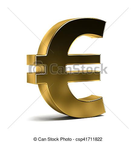 Euro Currency Symbol on White Isolated Background - csp41711822