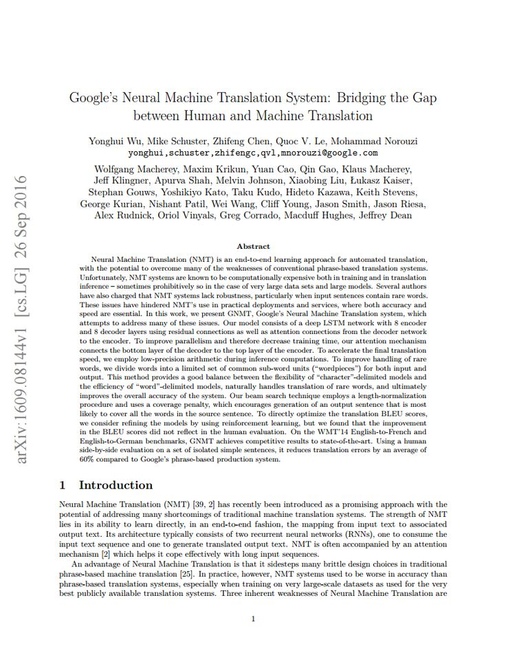 Google's Neural Machine Translation System: Bridging the Gap between Human and Machine Translation