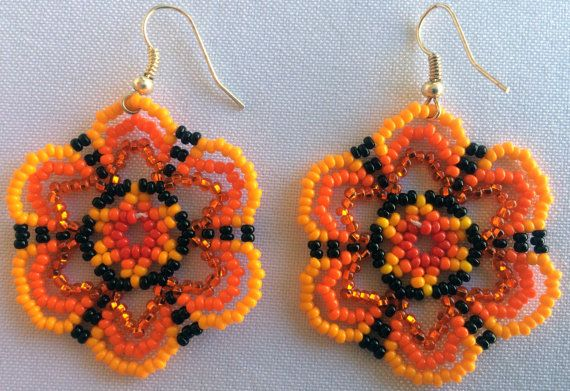 Mexican Huichol Beaded Flower Earrings by Aramara on Etsy