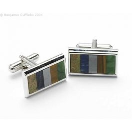 Rectangular Shaped Cufflinks Set with Natural Stones - Rectangular shaped rhodium-plated cufflinks set with various natural stones including onyx and mother of pearl
