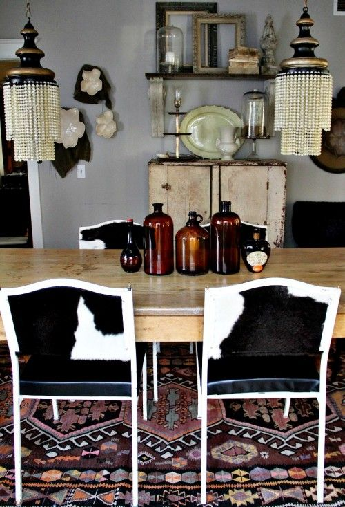 Reupholstered Cowhide Kitchen Chairs