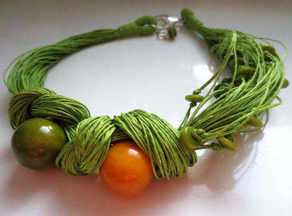 Green Yellow Tagua Round Beads Green Linen Cord by ReTeTeer