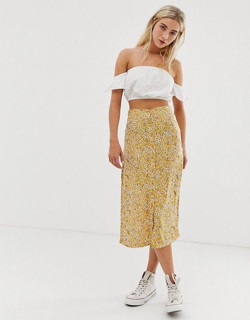 dfd13b38bcbe Daisy Street button through midi skirt in sunflower print in 2019 ...