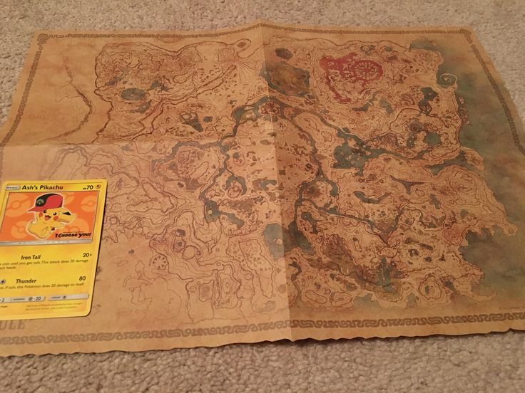 BOTW explorers edition map side one with pokemon card for scale.