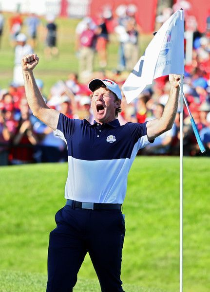 Brandt Snedeker of the United States celebrates on the 17th green after winning his match during singles matches of the 2016 Ryder Cup at Hazeltine National Golf Club. #thepursuitofprogression #Lufelive #Golf #Golfing #LA #NY
