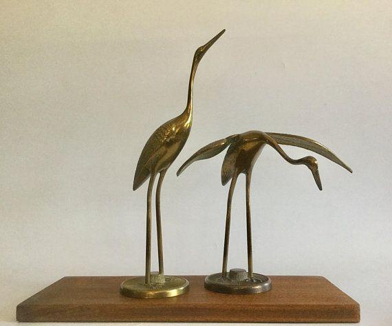 vintage mid century modern solid brass cranes decorative figurines brass sculpture