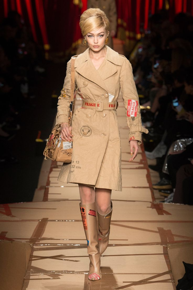 Runway #style #MFW Fall17: Moschino unpacks her, flattens her, and recycles her | Gigi Hadid