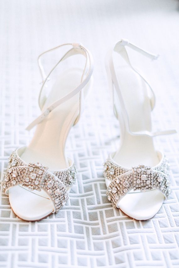 sparkly bridal shoes in white | Photo by Hunter Ryan Photo