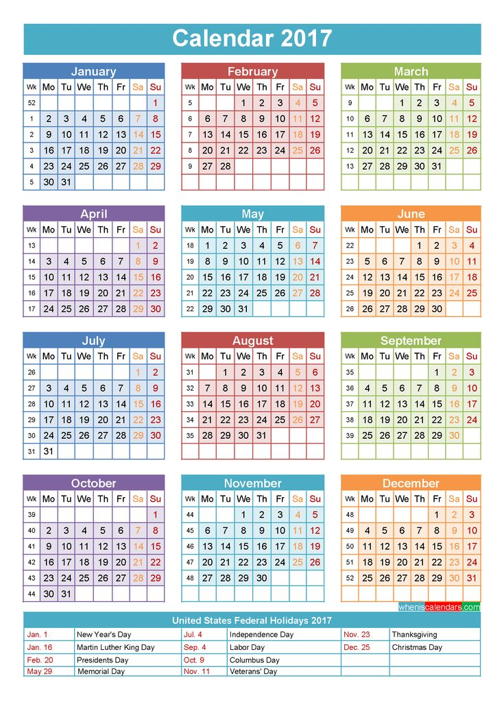2017 Calendar with Holidays Printable Yearly Calendar Template
