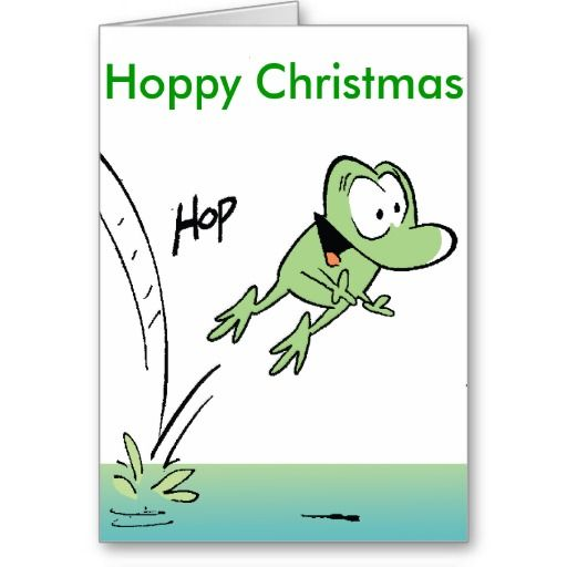 'Hoppy' Christmas Card. Just the Christmas card for a frog lover. $4.35 from Swamp Cartoons Zazzle Store. Discounts apply if you order 10 or more cards. #frog #christmas #card #zazzle http://www.zazzle.com.au/funny_frog_cartoon_hoppy_christmas_card-137491091972395290?rf=238100710189761270